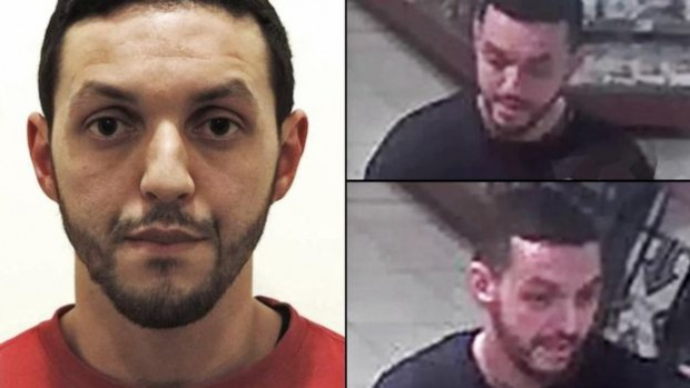 Abrini was captured on CCTV (R) at a service station at Ressons in northern France while driving a car with Paris suspect Salah Abdeslam