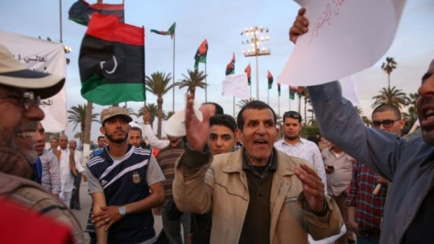 Supporters of PM-designate Fayez al-Sarraj rallied in Tripoli on Thursday