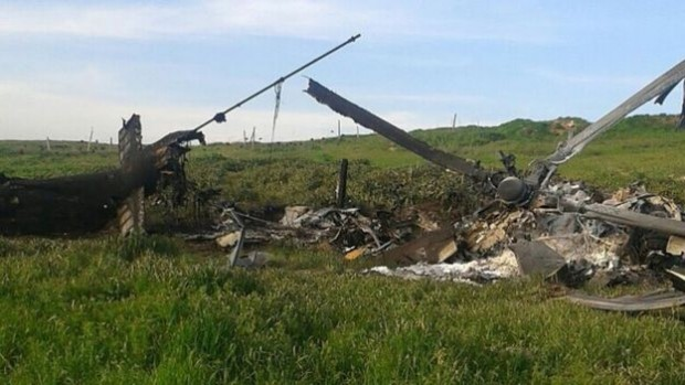 Nagorno-Karabakh's military had images on its website reportedly showing a downed Azerbaijani helicopter