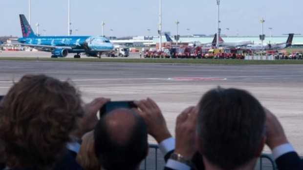 People watched as the first flight out of the reopened airport left for Faro