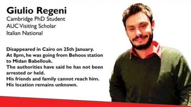 This poster was released in January after Mr Regeni went missing
