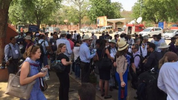 Crowds of journalists gathered outside the Taj Mahal in anticipation of the royal couple's tour
