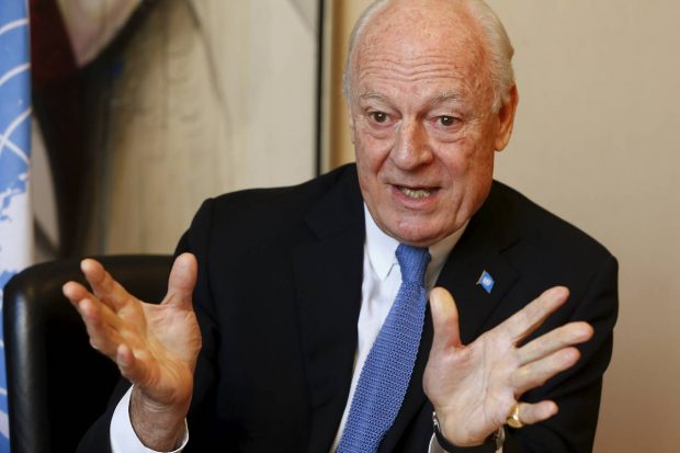 U.N. envoy for Syria Staffan de Mistura has appealed to regional powers as well as the U.S. and Russia to step in and save a fragile peace process for Syria that is in 'great trouble.' PHOTO: REUTERS