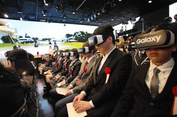 Students at Japan's N High School attend a virtual entrance ceremony in Tokyo. PHOTO: KADOKAWA DWANGO CORP
