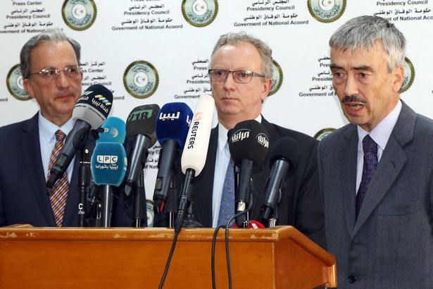 Spanish ambassador Jose Antonio Bordallo, France's Antoine Sivan and Peter Millet of Britain hold a press conference after a meeting with members of the Government of National Accord
