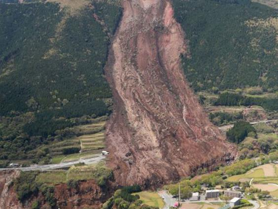 The landslide in Minamiaso , Kumamoto prefecture, caused by the earthquake. (JIJI PRESS/AFP/Getty Images)