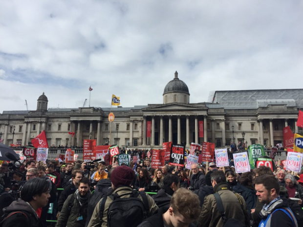 More than 50,000 people are rallying in London in demand of David Cameron's resignation