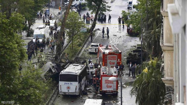 Fire engines stand beside a Turkish oplice bus which awas targeted in a bomb attack in a central Istanbul district, Turkey, June 7, 2016.    REUTERS/Osman Orsal