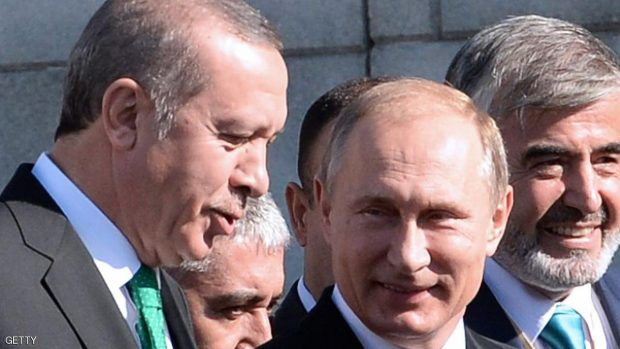 From L: Turkish President Recep Tayyip Erdogan and Russian President Vladimir Putin arrive for the opening ceremony of the Moscow Grand Mosque in Moscow on September 23, 2015. AFP PHOTO / VASILY MAXIMOV        (Photo credit should read VASILY MAXIMOV/AFP/Getty Images)
