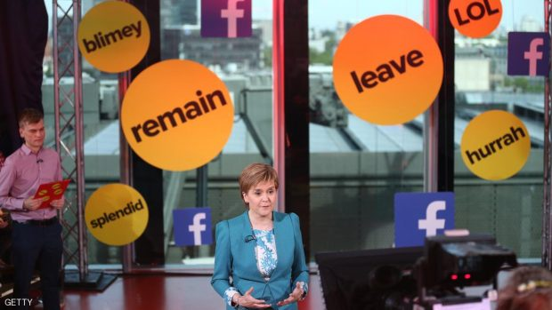 LONDON, ENGLAND - JUNE 10: In this handout image provided by Buzz Feed,  Scottish First Minister, Nicola Sturgeon takes part in a BuzzFeed News and Facebook live EU referendum debate on June 10, 2016 in London, United Kingdom. BuzzFeed News and Facebook hosted a live EU referendum debate with David Cameron, Nicola Sturgeon, Nigel Farage and Penny Mordaunt. The event was presented by BuzzFeed News political editor Jim Waterson and senior political correspondent Emily Ashton. (Photo by BuzzFeed News/Facebook via Getty Images)