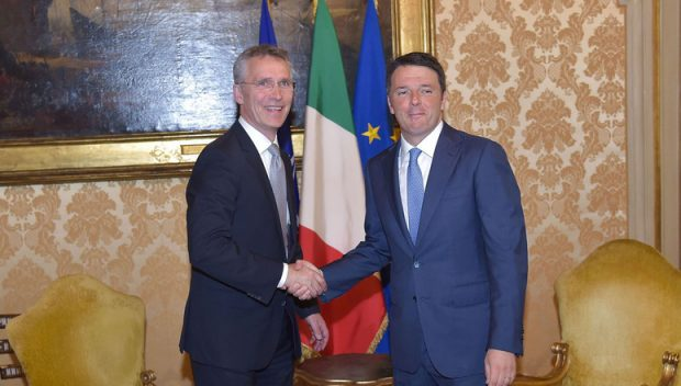 NATO Secretary General Jens Stoltenberg with Matteo Renzi Prime Minister and President of the Council of Ministers of Italy