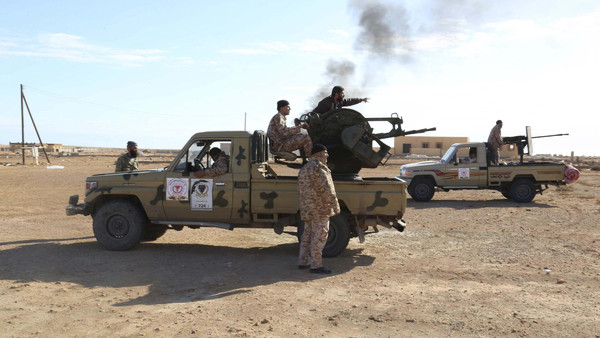 Libyan Army Forces belonging to Libya's rival government, that are part of the Alshorooq (Libya Dawn) operation to free oil ports, are seen on the outskirts of Al Sidra oil port