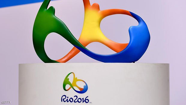 The official logo for the Rio 2016 Olympics games.  (Photo by Buda Mendes/Getty Images)