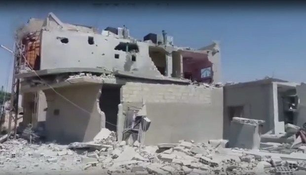 A building destroyed in Jayrud bombing