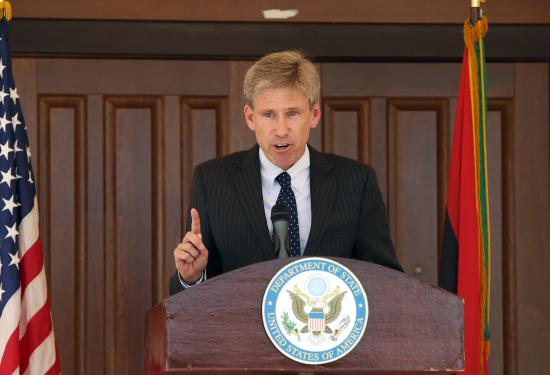 US ambassador to Libya Chris Stevens gives a speech on August 26, 2012 at the US embassy in Tripoli, in which he declared that the consular section will reopen on August 27. The consular section will provide a full range of services, including temporary visas to travel to the United States and services for US citizens who reside in Libya. AFP PHOTO/MAHMUD TURKIA