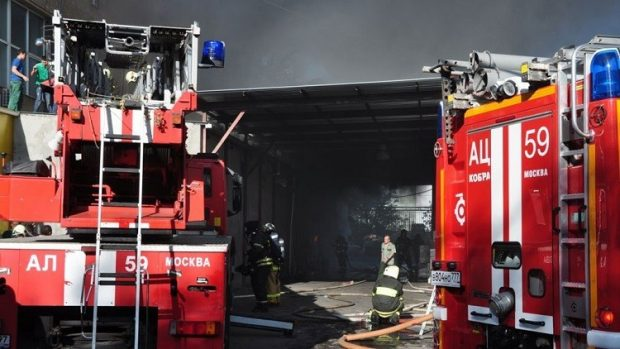A fire in a warehouse at a Moscow printing works killed at least 16 people on Saturday morning.