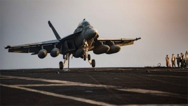 US jets are in action over Syria in support of the US-led coalition against so-called Islamic State (file photo)