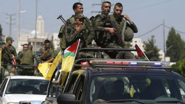 Members of the Palestinian Authority security forces on patrol in Nablus