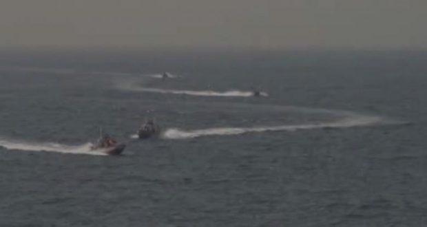 Footage taken aboard the USS Nitze shows of Islamic Revolutionary Guard vessels.    via REUTERS TV