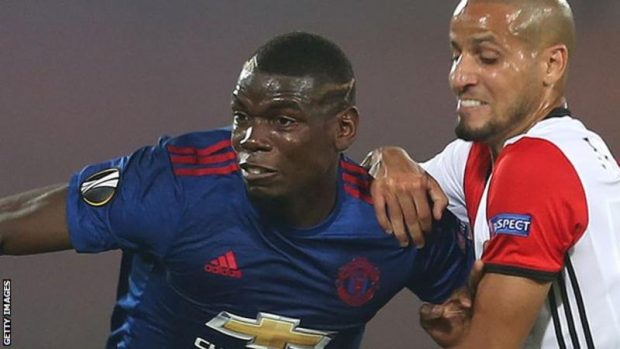 Paul Pogba (left) struggled to get free in Thursday's Europa League defeat by Feyenoord