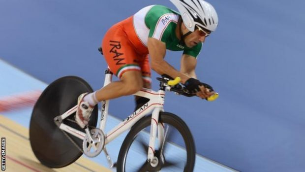 Bahman Golbarnezhad - here competing on the track in 2012 - crashed during the C4-5 road race on Saturday