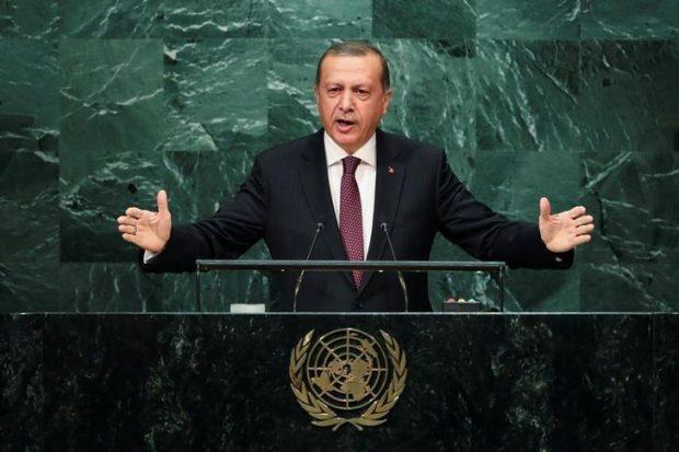Turkish President Recep Tayyip Erdogan addresses the United Nations General Assembly in the Manhattan borough of New York, U.S. September 20, 2016. REUTERS/Eduardo Munoz