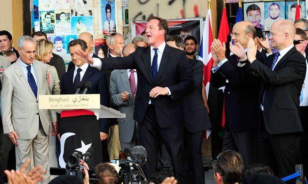 David Cameron addresses a crowd in Benghazi, Libya. Photograph: Esam Omran Al-Fetori/Reuters