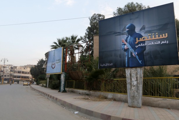 A billboard promoting the Islamic State in Raqqa, Syria. Nour Fourat / Reuters
