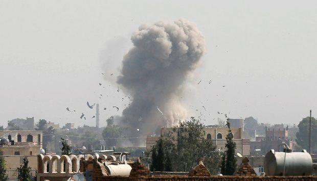 A Saudi coalition air strike in Sanaa (Reuters)