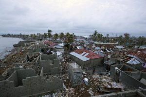 Homes lay in ruins after the passing of Hurricane Matthew in Les Cayes, Haiti, on Thursday. Two days after the storm rampaged across the country's remote southwestern peninsula, Interior Minister Fran�ois Anick Joseph announced that the death toll in Haiti has risen to at least 108.  (Dieu Nalio Chery / AP)