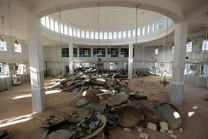 Satellite dishes damaged by Islamic State militants are pictured inside a mosque in Turkman Bareh village, after rebel fighters advanced in the area, in northern Aleppo Governorate, Syria, October 7, 2016. REUTERS/Khalil Ashawi