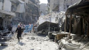 Hundreds of people have been killed since an assault by government forces on rebel-held parts of Aleppo began last month
