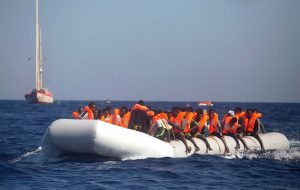 File photo of a previous rescue mission. The rescue efforts, which took place after nightfall and as the dinghy began to sink, saw 113 people pulled to safety, including 89 men, 11 women, 11 children and two teenagers. Image by: GIORGOS MOUTAFIS / REUTERS