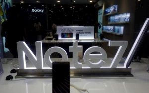 An advertisement of Samsung Galaxy Note 7 is seen at a mobile phone shop in Hanoi, Vietnam Credit: Kham/Reuters