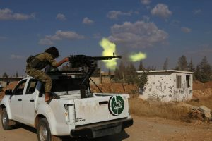 The Free Syrian army advance in the direction of the town of Dabiq with the support of the Turkish army tanks and artillery. Photo: Amer Rabe Al Hasan/Zuma Press