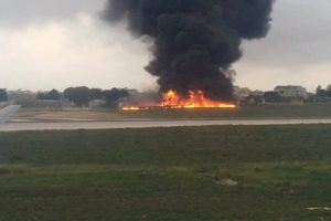 An image taken from a video of the crashed plane at Malta's international airport on Monday. Photo: Associated P
