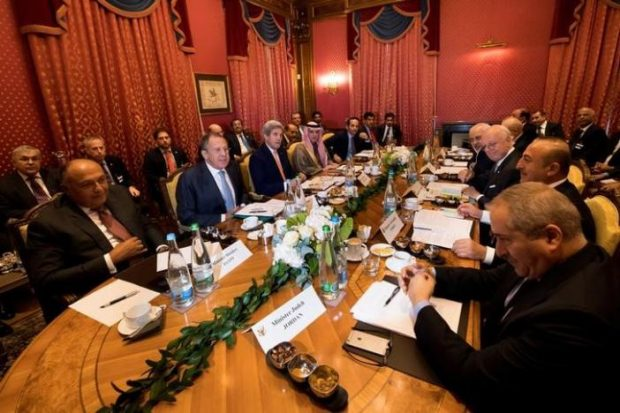 (From L-R), Egypt's Foreign Minister Sameh Shoukry, Russia's Foreign Minister Sergei Lavrov, U.S. Secretary of State John Kerry, Saudi Arabia's Foreign Minister Adel al-Jubeir, Qatar's Foreign Minister Sheikh Mohammed bin Abdulrahman al-Thani, Iraq's Foreign Minister Ibrahim al-Jaafari, Iran's Foreign Minister Mohammad Javad Zarif, Staffan de Mistura, UN Special Envoy of the Secretary-General for Syria, Turkey's Foreign Affairs Minister Mevlut Cavusoglu, Jordan's Foreign Minister Nasser Judeh, speak together around a table during a bilateral meeting where they discussed the crisis in Syria, in Lausanne, Switzerland, October 15, 2016.  REUTERS/Jean-Christophe Bott/Pool