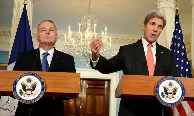 Secretary of state John Kerry spoke before a meeting with French foreign minister Jean-Marc Ayrault over a new Franco-Spanish resolution. Photograph: Mike Theiler/Reuters