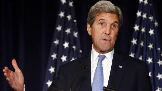 Secretary of State John Kerry speaks in New York. Kerry is threatening to cut off all contacts with Moscow over Syria, unless Russian and Syrian government attacks on Aleppo end.