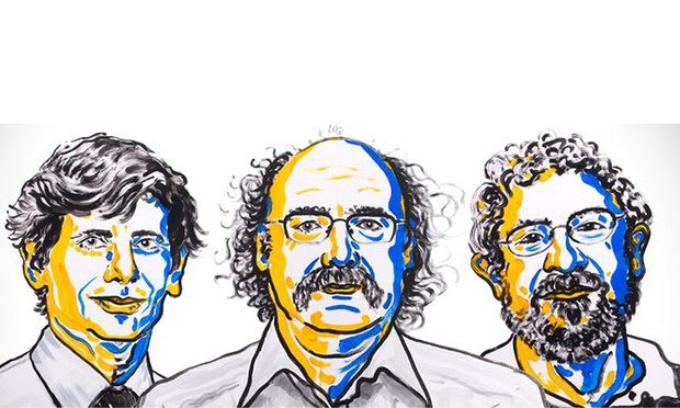 David Thouless, Duncan Haldane and Michael Kosterlitz have been awarded the 2016 Nobel prize in physics. Photograph: N. Elmehed/2016 Nobel Prize