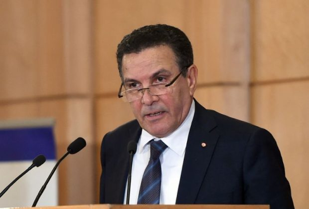 """Tunisian Defence Minister Farhat Horchani delivering a speech during the opening of The Fourth Arab Forum on Asset Recovery """"AFAR """", in the Tunisian city of Hammamet on December 9, 2015 (AFP Photo/Fethi Belaid)"""