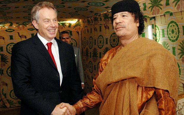 Mr Blair meeting Col Gaddafi at his desert base outside Sirte back in 2007 Photo: PA