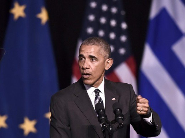 Obama was on November 16 wrapping up the Greek leg of a farewell European trip with a visit to the Acropolis and an eagerly-awaited speech on democracy before heading to Berlin. PHOTO: AFP