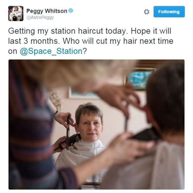 Peggy Whitson tweeted about her hair cut three days before blast off