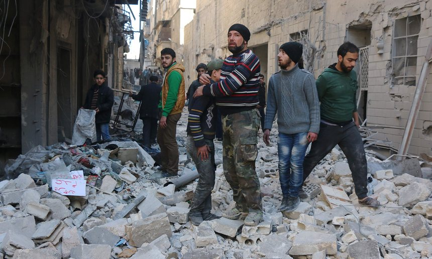 'The aftershocks of the Aleppo bombardment will be felt far and wide. If there is one thing Europeans have learned in 2015, it is that they cannot be shielded from the effects of conflict in the Middle East.' Photograph: Thaer Mohammed/AFP/Getty Images