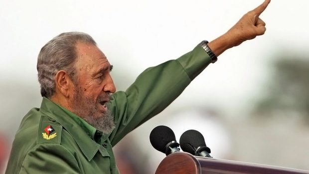 (FILES) Cuban President Fidel Castro speaks during the May Day ceremony in Havana 01 May 2006. Fidel Castro resigned on February 19, 2008 as president and commander in chief of Cuba in a message published in the online version of the official daily Granma.     AFP PHOTO/Adalberto ROQUE (Photo credit should read ADALBERTO ROQUE/AFP/Getty Images)