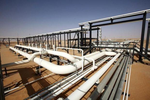 Pipes are pictured at Libya's El Sharara oilfield