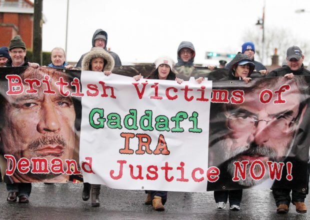 A protest parade in Belfast in support of compensation from Libya for IRA victims