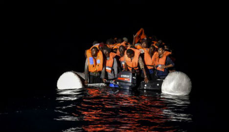 Migrants and refugees wait for further assistance from the Topaz Responder ship. Photo: Andreas Solaro/AFP