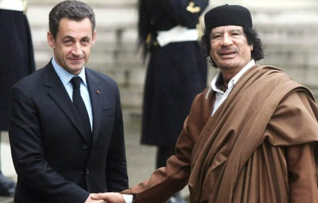 Sarkozy and Gaddafi pictured in Paris in 2007
